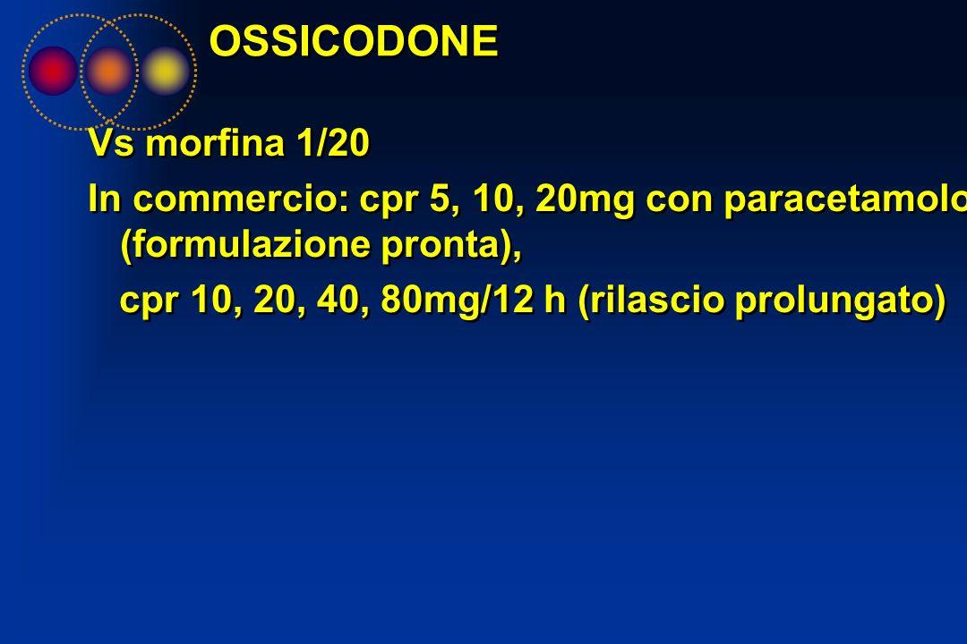 OSSICODONE Vs morfina 1/20 In commercio: cpr 5, 10, 20mg con paracetamolo (formulazione pronta), cpr 10, 20, 40, 80mg/12 h (rilascio prolungato) Vs mo