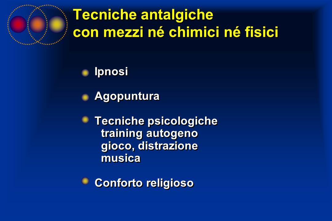 Tecniche antalgiche con mezzi né chimici né fisici Ipnosi Agopuntura Tecniche psicologiche training autogeno gioco, distrazione musica Conforto religi