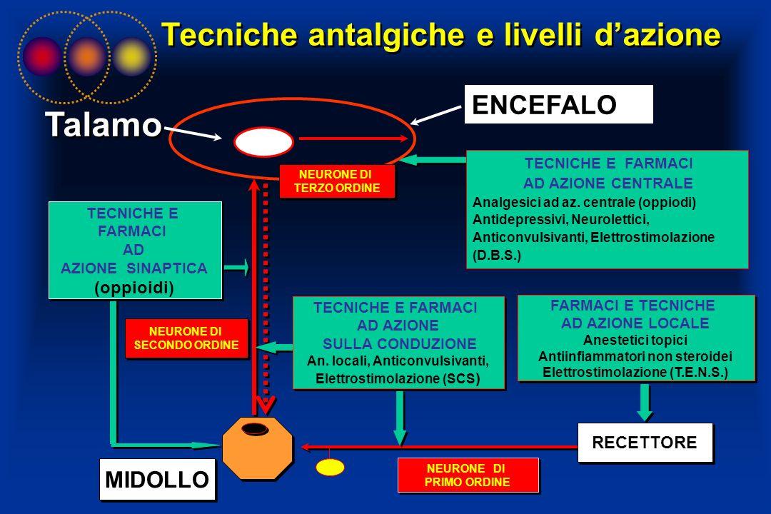 Tecniche antalgiche e livelli dazione MIDOLLO RECETTORE FARMACI E TECNICHE AD AZIONE LOCALE Anestetici topici Antiinfiammatori non steroidei Elettrost
