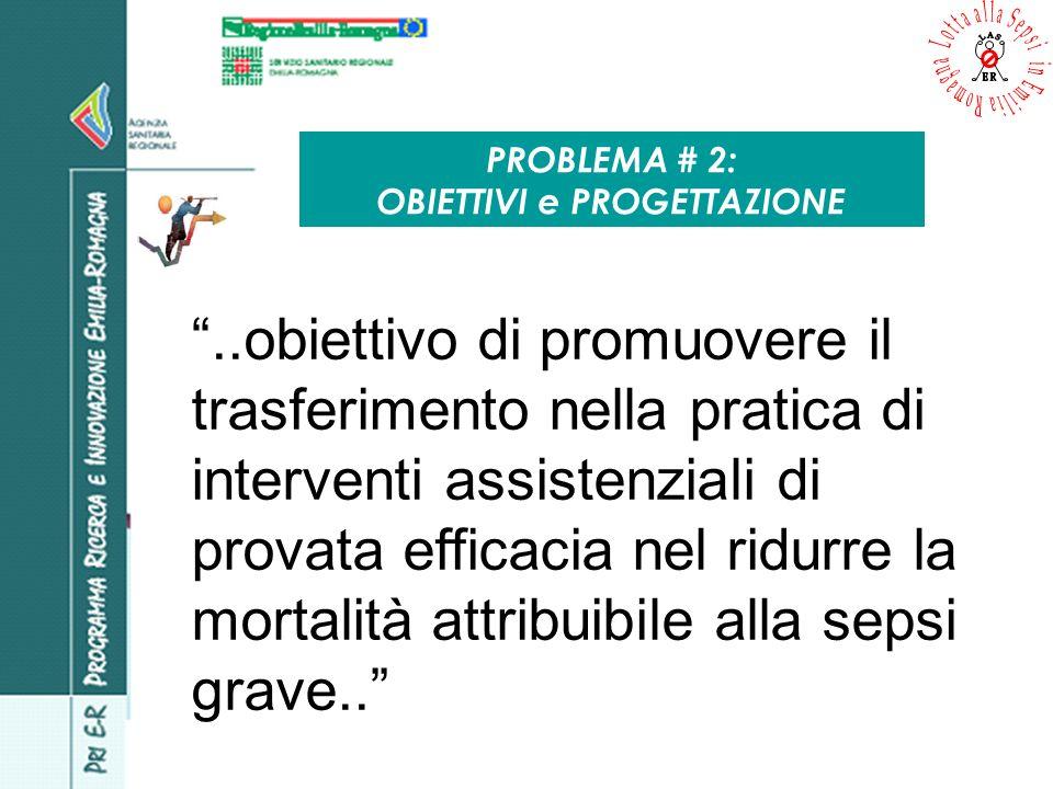 PROBLEMA # 2: OBIETTIVI e PROGETTAZIONE..obiettivo di promuovere il trasferimento nella pratica di interventi assistenziali di provata efficacia nel r