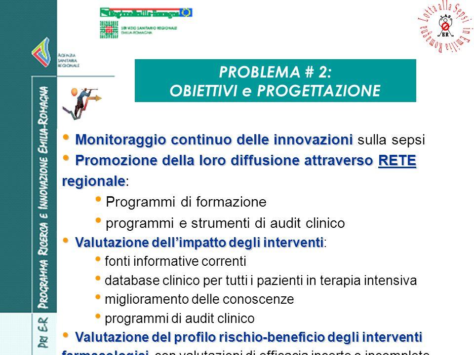 PROBLEMA # 2: OBIETTIVI e PROGETTAZIONE Monitoraggio continuo delle innovazioni Monitoraggio continuo delle innovazioni sulla sepsi Promozione della l