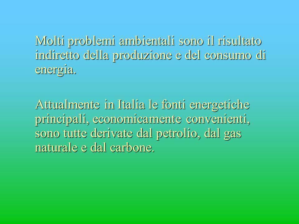 Molti problemi ambientali sono il risultato indiretto della produzione e del consumo di energia. Attualmente in Italia le fonti energetiche principali