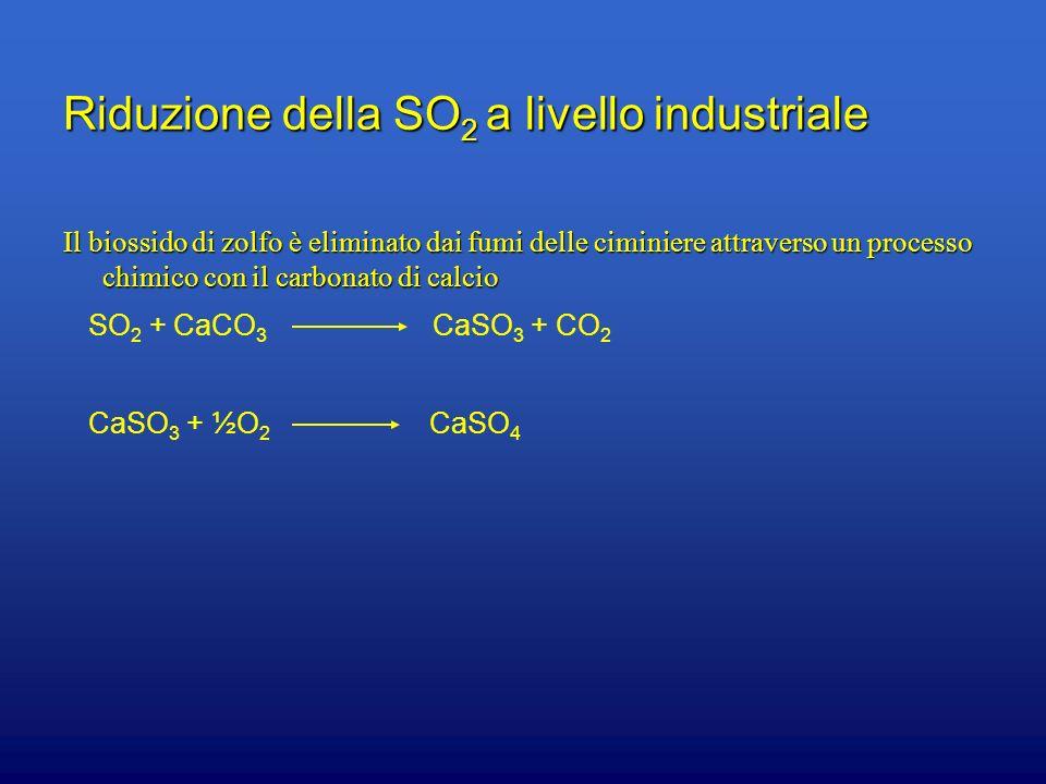 Riduzione della SO 2 a livello industriale Il biossido di zolfo è eliminato dai fumi delle ciminiere attraverso un processo chimico con il carbonato d