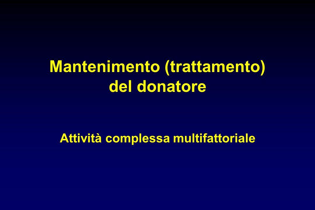 Mantenimento (trattamento) del donatore Attività complessa multifattoriale