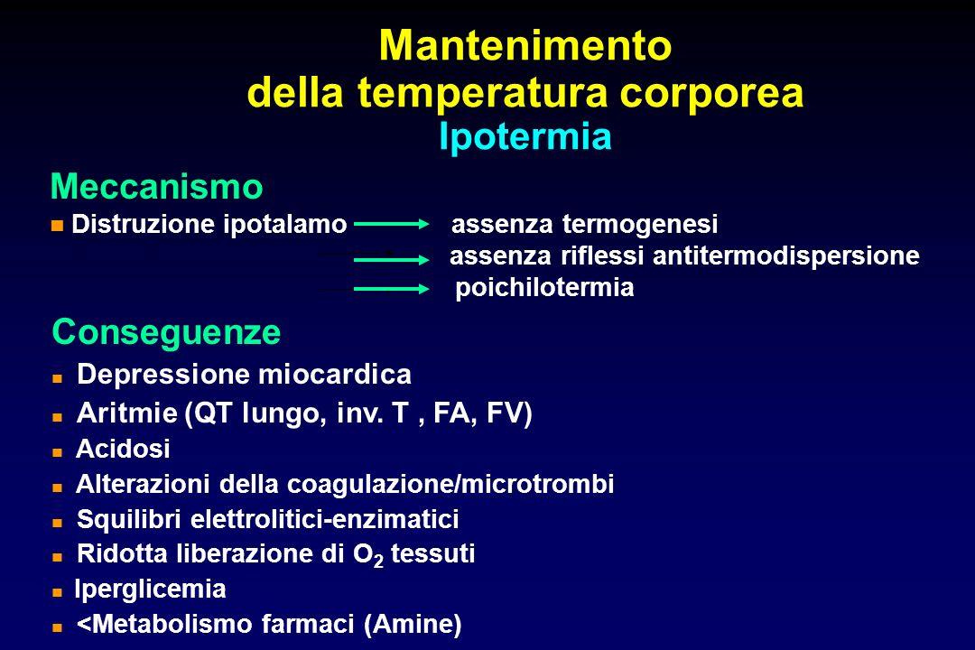Mantenimento della temperatura corporea Ipotermia Meccanismo Distruzione ipotalamo assenza termogenesi assenza riflessi antitermodispersione poichilot