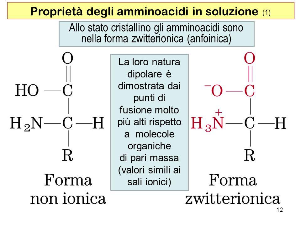 Allo stato cristallino gli amminoacidi sono nella forma zwitterionica (anfoinica) Proprietà degli amminoacidi in soluzione (1) La loro natura dipolare