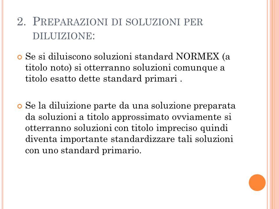 2.P REPARAZIONI DI SOLUZIONI PER DILUIZIONE : Se si diluiscono soluzioni standard NORMEX (a titolo noto) si otterranno soluzioni comunque a titolo esa