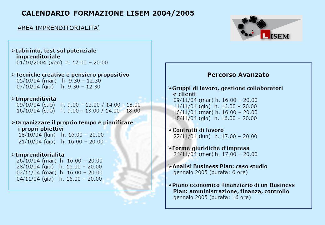 CALENDARIO FORMAZIONE LISEM 2004/2005 Labirinto, test sul potenziale imprenditoriale 01/10/2004 (ven) h. 17.00 – 20.00 Tecniche creative e pensiero pr