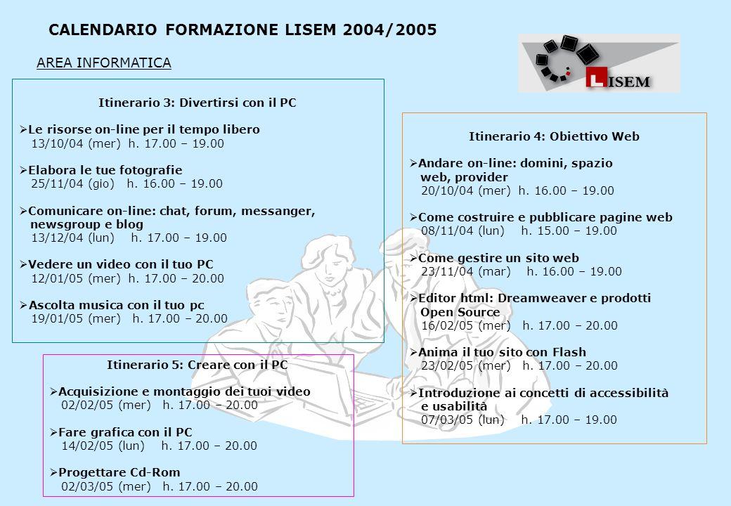 CALENDARIO FORMAZIONE LISEM 2004/2005 Itinerario 3: Divertirsi con il PC Le risorse on-line per il tempo libero 13/10/04 (mer) h. 17.00 – 19.00 Elabor