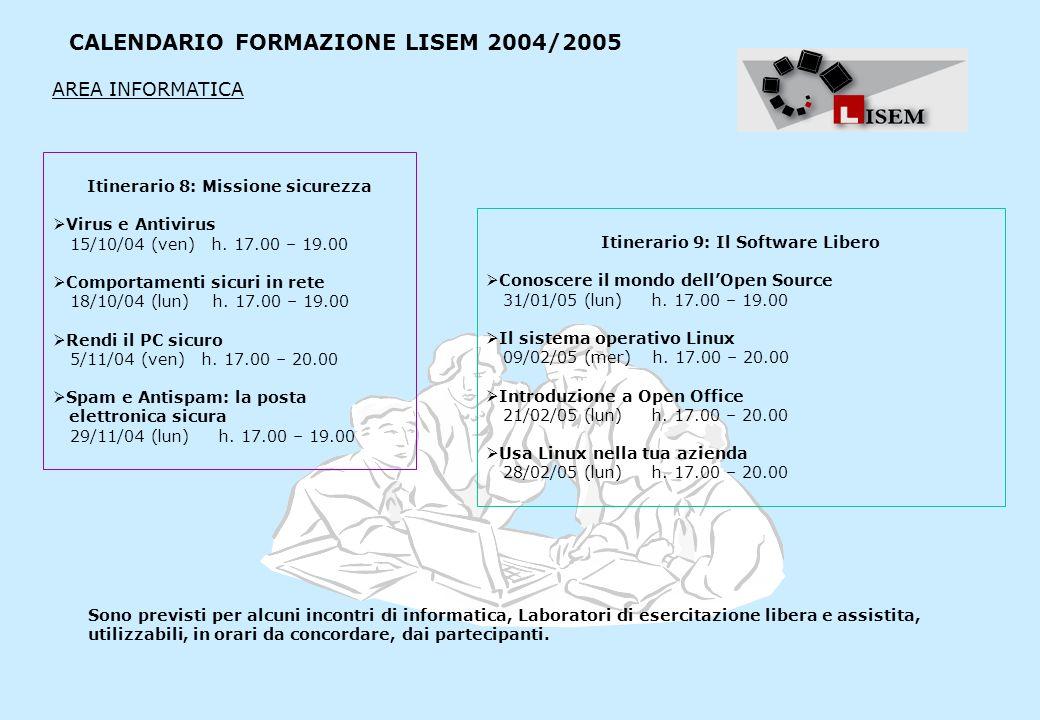 CALENDARIO FORMAZIONE LISEM 2004/2005 Itinerario 8: Missione sicurezza Virus e Antivirus 15/10/04 (ven) h. 17.00 – 19.00 Comportamenti sicuri in rete