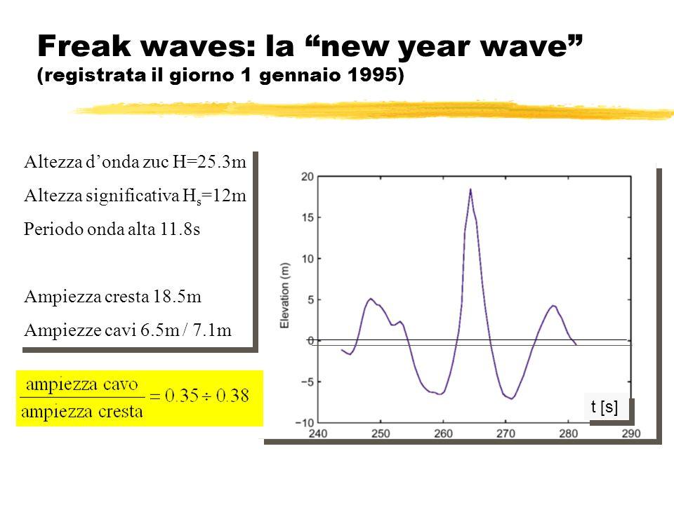 Freak waves: la new year wave (registrata il giorno 1 gennaio 1995) t [s] Altezza donda zuc H=25.3m Altezza significativa H s =12m Periodo onda alta 1