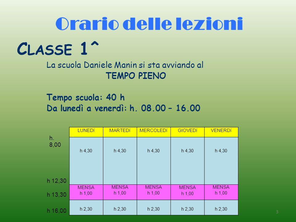 Orario delle lezioni C LASSE 1^ La scuola Daniele Manin si sta avviando al TEMPO PIENO Tempo scuola: 40 h Da lunedì a venerdì: h. 08.00 – 16.00 3 LUNE