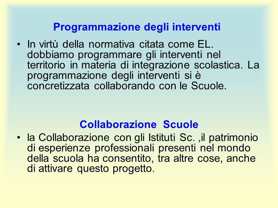 Programmazione degli interventi In virtù della normativa citata come EL.