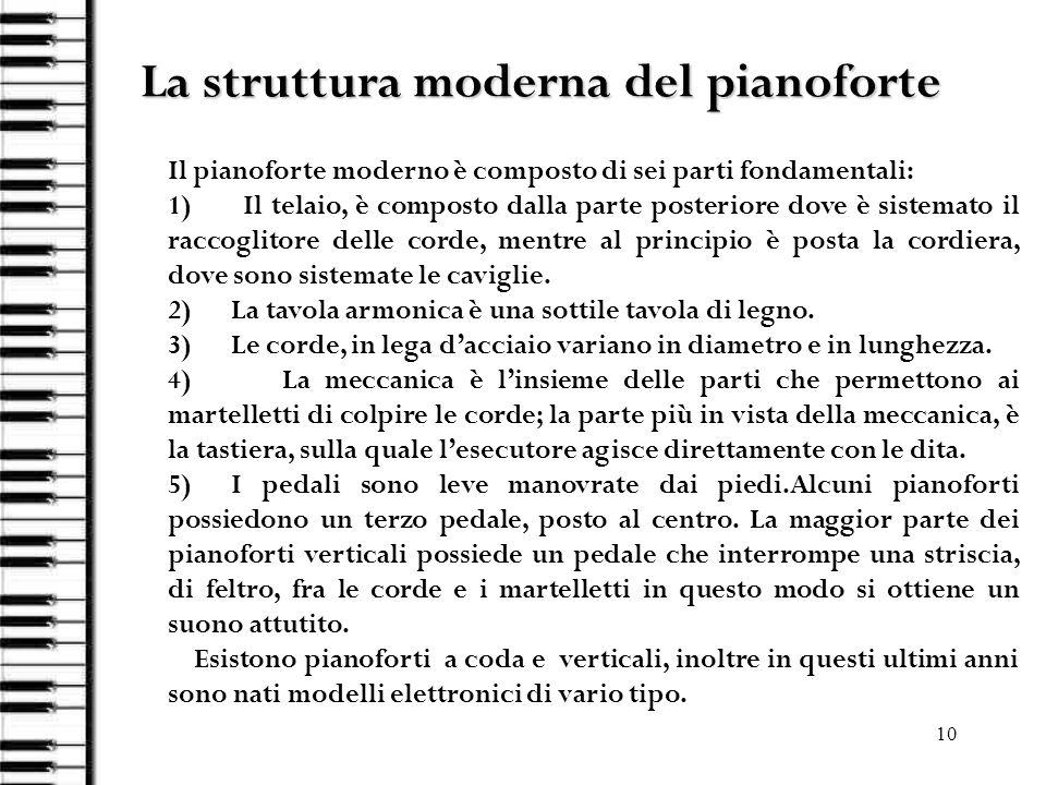 10 La struttura moderna del pianoforte Il pianoforte moderno è composto di sei parti fondamentali: 1) Il telaio, è composto dalla parte posteriore dov