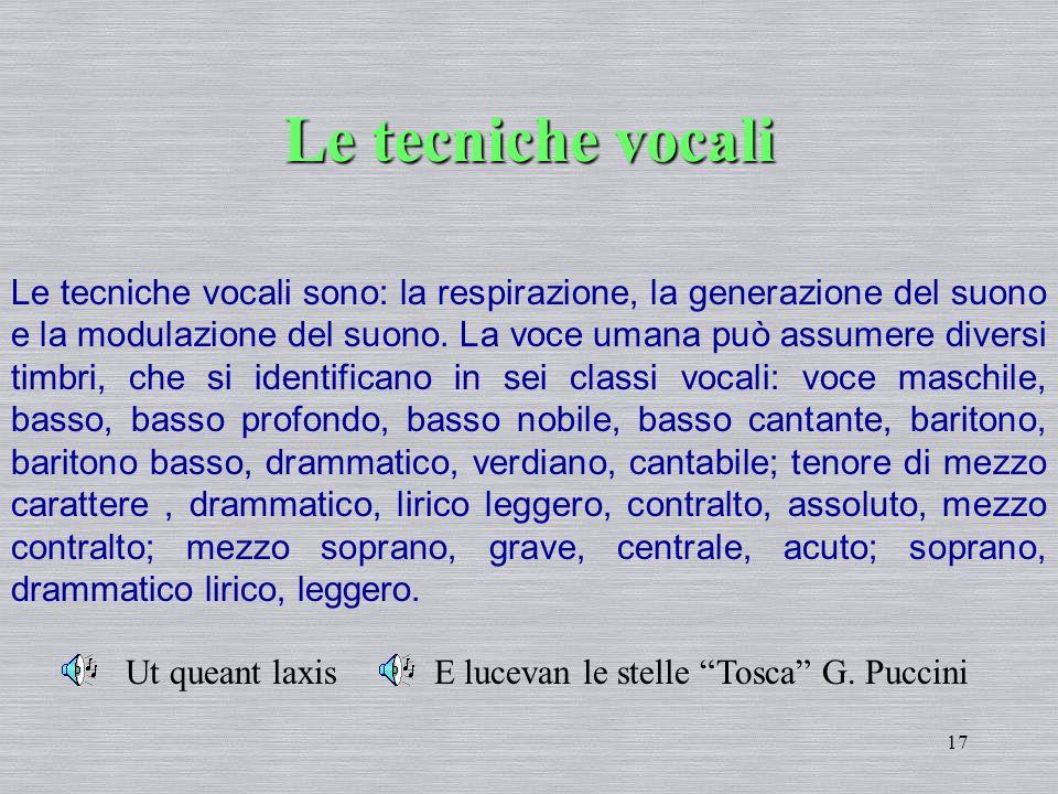 17 Le tecniche vocali Le tecniche vocali sono: la respirazione, la generazione del suono e la modulazione del suono. La voce umana può assumere divers