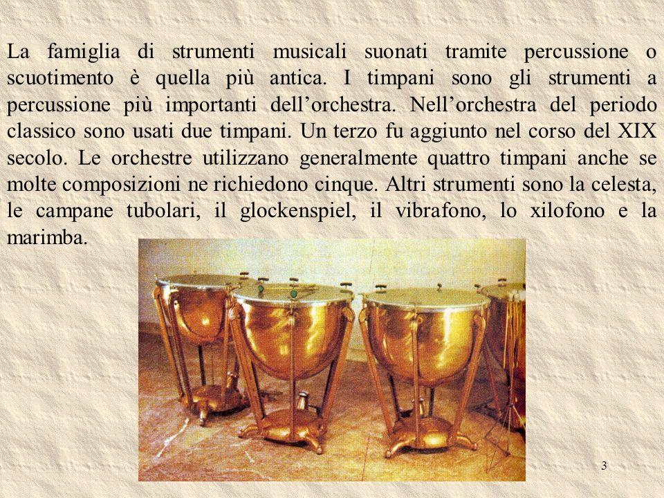 3 La famiglia di strumenti musicali suonati tramite percussione o scuotimento è quella più antica. I timpani sono gli strumenti a percussione più impo