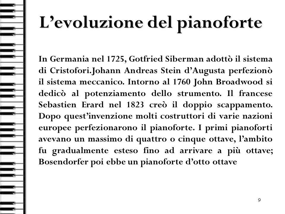 9 Levoluzione del pianoforte In Germania nel 1725, Gotfried Siberman adottò il sistema di Cristofori.Johann Andreas Stein dAugusta perfezionò il siste