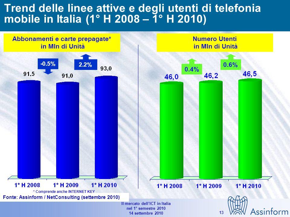 Il mercato dellICT in Italia nel 1° semestre 2010 14 settembre 2010 12 16.530 17.190 16.895 6.9% -2.0% -6.2% -1.5% -1.7% 6.5% -1.2% -4.0% -6.2% -2.2% Mercato italiano dei servizi di telecomunicazione (1°H 2008 - 1° H 2010) (*) Comprendono gli XMS e i servizi dati / Internet (**)Comprendono i servizi legati ad Internet (accesso escluso), Servizi di outsourcing, numeri Verdi e Premium ed altri servizi minori Valori in Mln e % Fonte: Assinform / NetConsulting (settembre 2010)