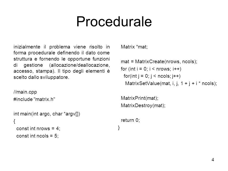 4 Procedurale inizialmente il problema viene risolto in forma procedurale definendo il dato come struttura e fornendo le opportune funzioni di gestione (allocazione/deallocazione, accesso, stampa).