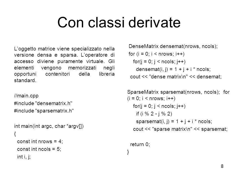 8 Con classi derivate Loggetto matrice viene specializzato nella versione densa e sparsa. Loperatore di accesso diviene puramente virtuale. Gli elemen