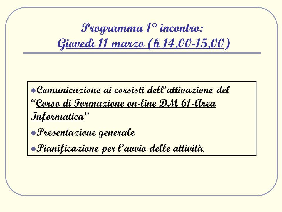 Programma 1° incontro: Giovedì 11 marzo (h 14,00-15,00) Comunicazione ai corsisti dellattivazione delCorso di Formazione on-line DM 61-Area Informatic