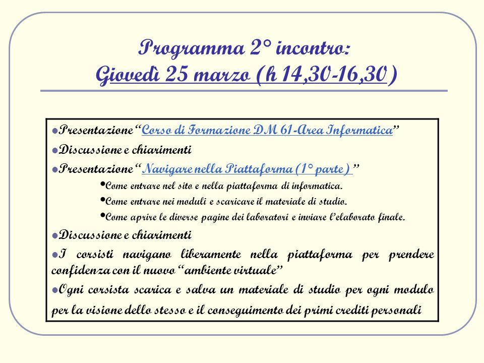 Programma 2° incontro: Giovedì 25 marzo (h 14,30-16,30) Presentazione Corso di Formazione DM 61-Area InformaticaCorso di Formazione DM 61-Area Informa