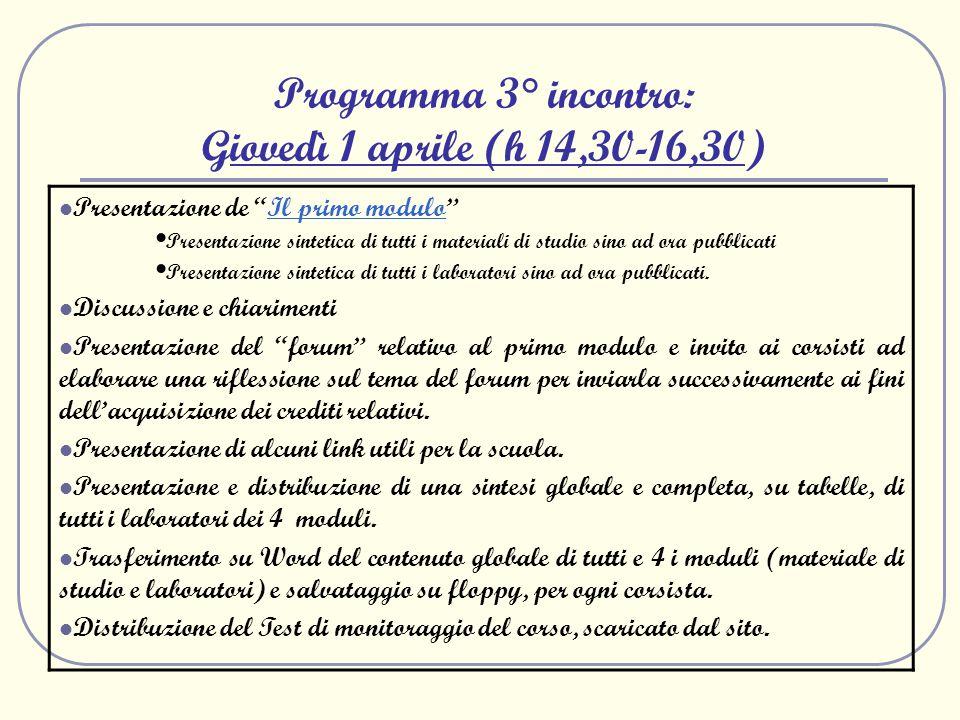 Programma 3° incontro: Giovedì 1 aprile (h 14,30-16,30) Presentazione de Il primo moduloIl primo modulo Presentazione sintetica di tutti i materiali d