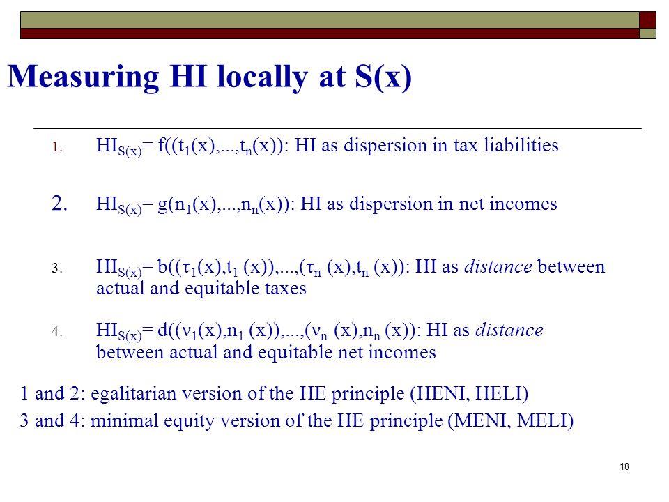 18 Measuring HI locally at S(x) 1. HI S(x) = f((t 1 (x),...,t n (x)): HI as dispersion in tax liabilities 4. HI S(x) = d((ν 1 (x),n 1 (x)),...,(ν n (x