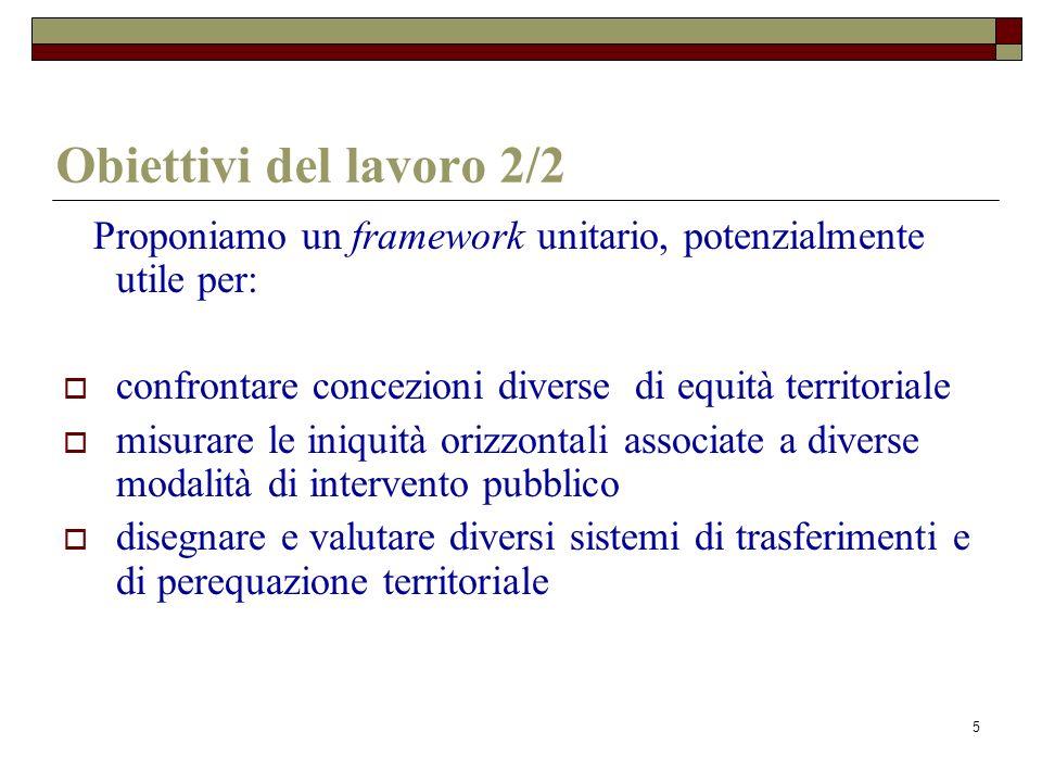 5 Obiettivi del lavoro 2/2 Proponiamo un framework unitario, potenzialmente utile per: confrontare concezioni diverse di equità territoriale misurare