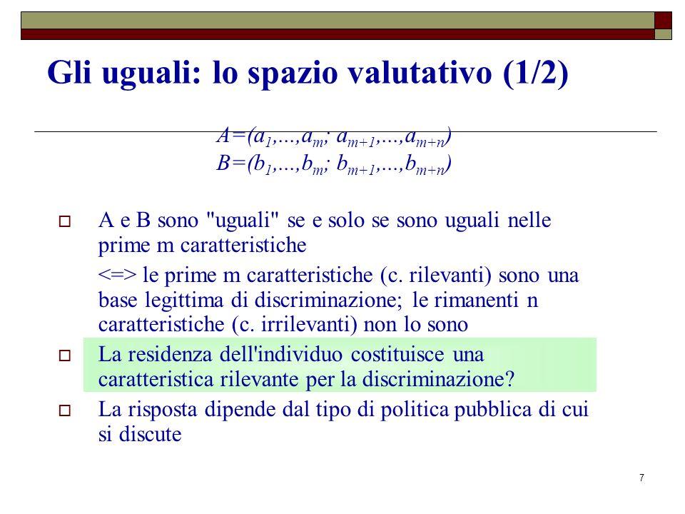 7 Gli uguali: lo spazio valutativo (1/2) A=(a 1,...,a m ; a m+1,...,a m+n ) B=(b 1,...,b m ; b m+1,...,b m+n ) A e B sono