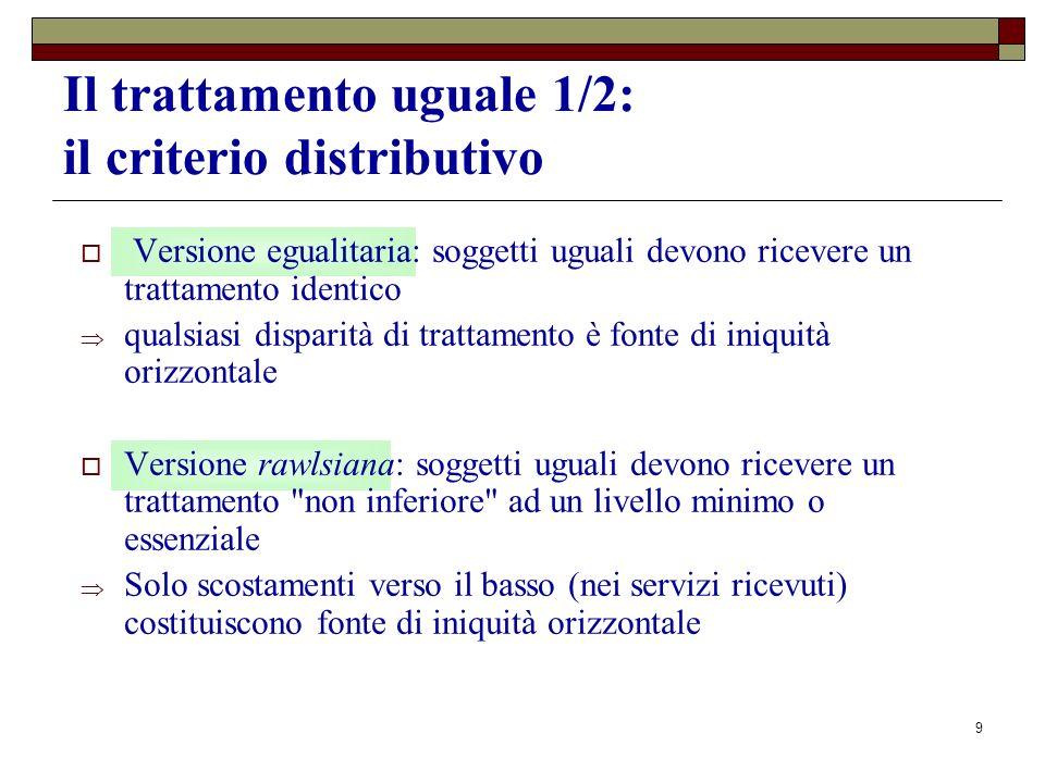 9 Il trattamento uguale 1/2: il criterio distributivo Versione egualitaria: soggetti uguali devono ricevere un trattamento identico qualsiasi disparit