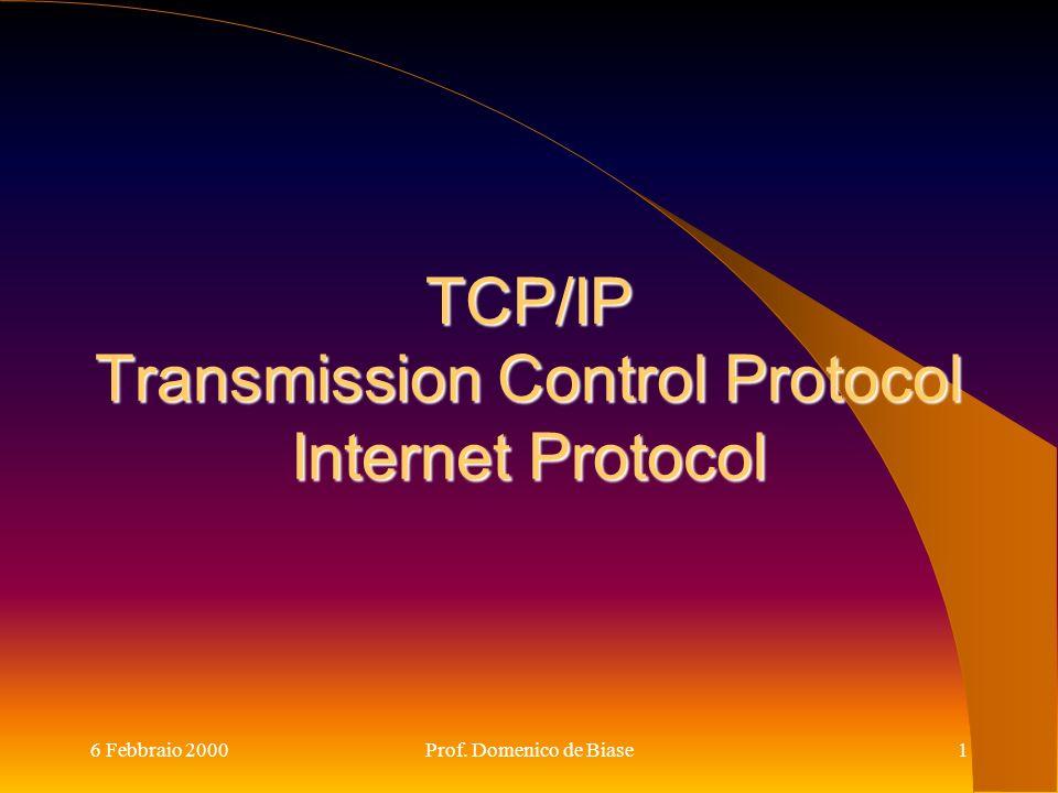 6 Febbraio 2000Prof. Domenico de Biase1 TCP/IP Transmission Control Protocol Internet Protocol