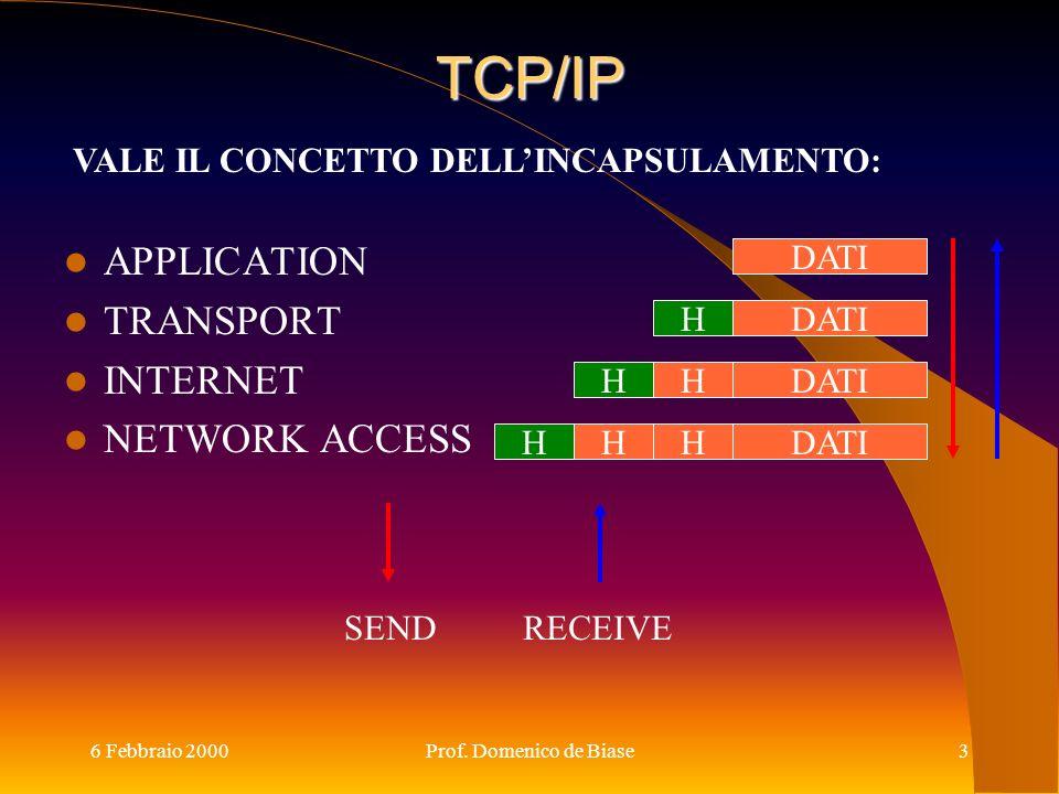 6 Febbraio 2000Prof. Domenico de Biase3 TCP/IP APPLICATION TRANSPORT INTERNET NETWORK ACCESS DATI H H H H HH SENDRECEIVE VALE IL CONCETTO DELLINCAPSUL