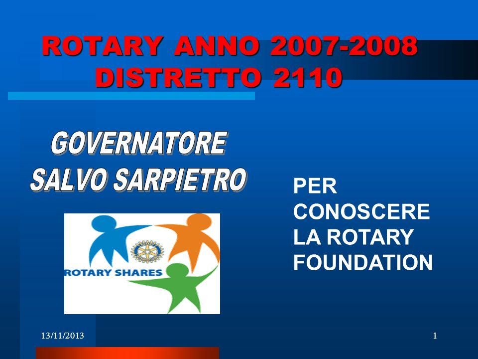 13/11/20132 LE SOVVENZIONI UMANITARIE DELLA ROTARY FOUNDATION Anno 2007- 08 Rotary Foundation Chairman Bhichai Rattakul Arch C.