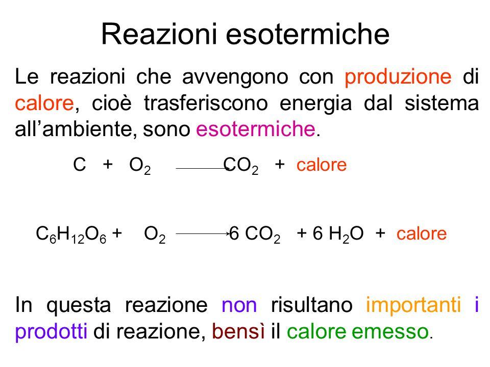 Reazioni esotermiche Le reazioni che avvengono con produzione di calore, cioè trasferiscono energia dal sistema allambiente, sono esotermiche. C + O 2