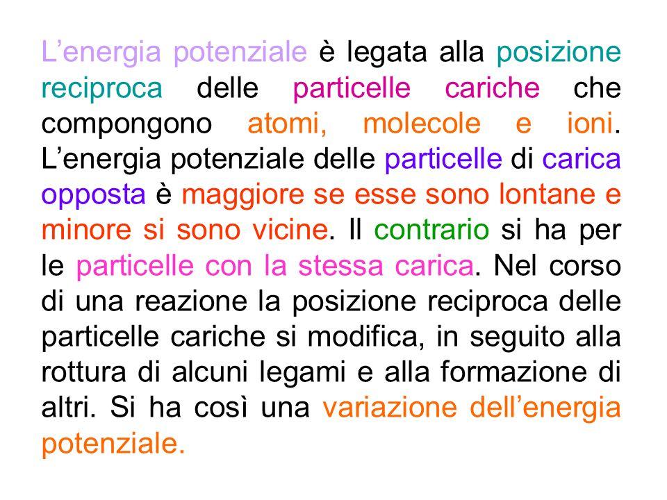 Lenergia potenziale è legata alla posizione reciproca delle particelle cariche che compongono atomi, molecole e ioni. Lenergia potenziale delle partic