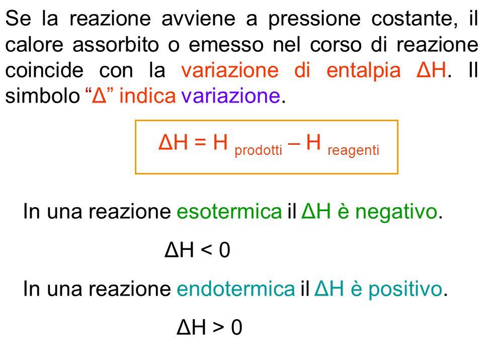 Se la reazione avviene a pressione costante, il calore assorbito o emesso nel corso di reazione coincide con la variazione di entalpia ΔH. Il simbolo