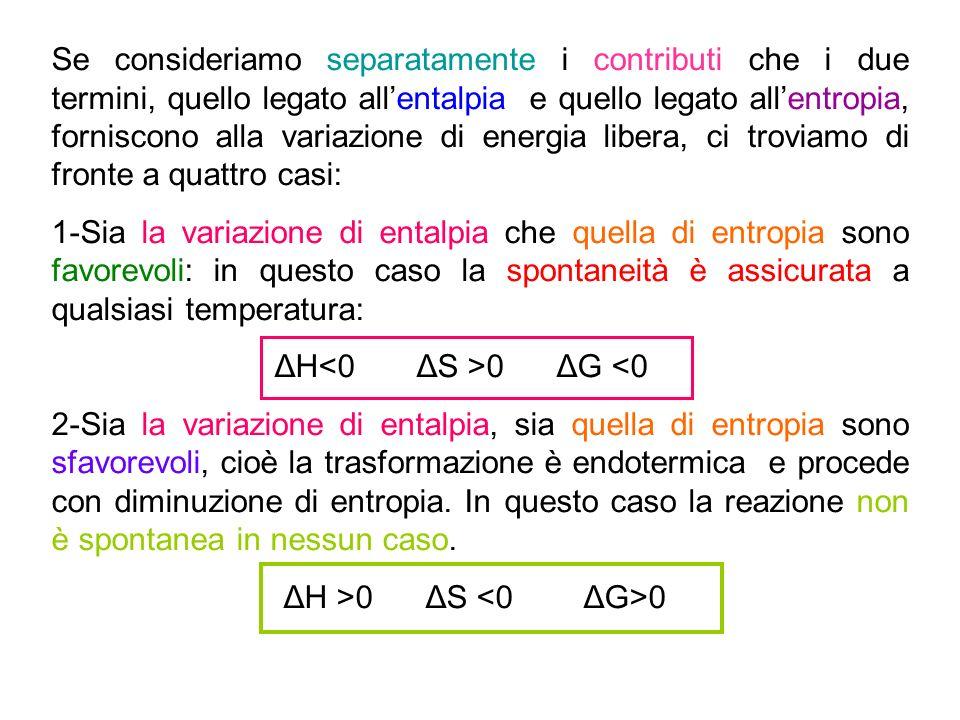 Se consideriamo separatamente i contributi che i due termini, quello legato allentalpia e quello legato allentropia, forniscono alla variazione di ene