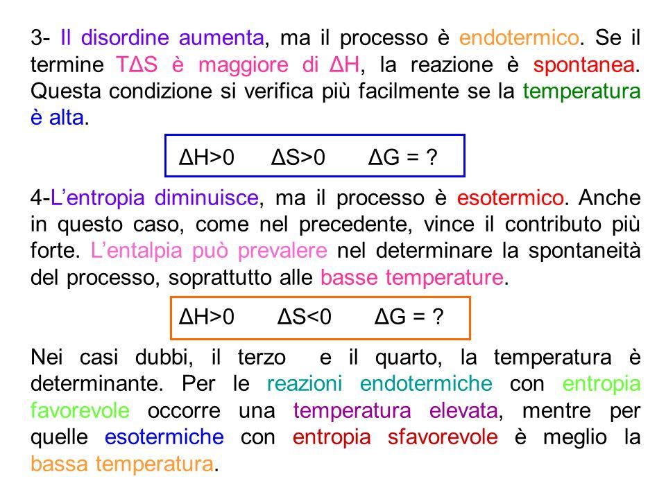 3- Il disordine aumenta, ma il processo è endotermico. Se il termine TΔS è maggiore di ΔH, la reazione è spontanea. Questa condizione si verifica più