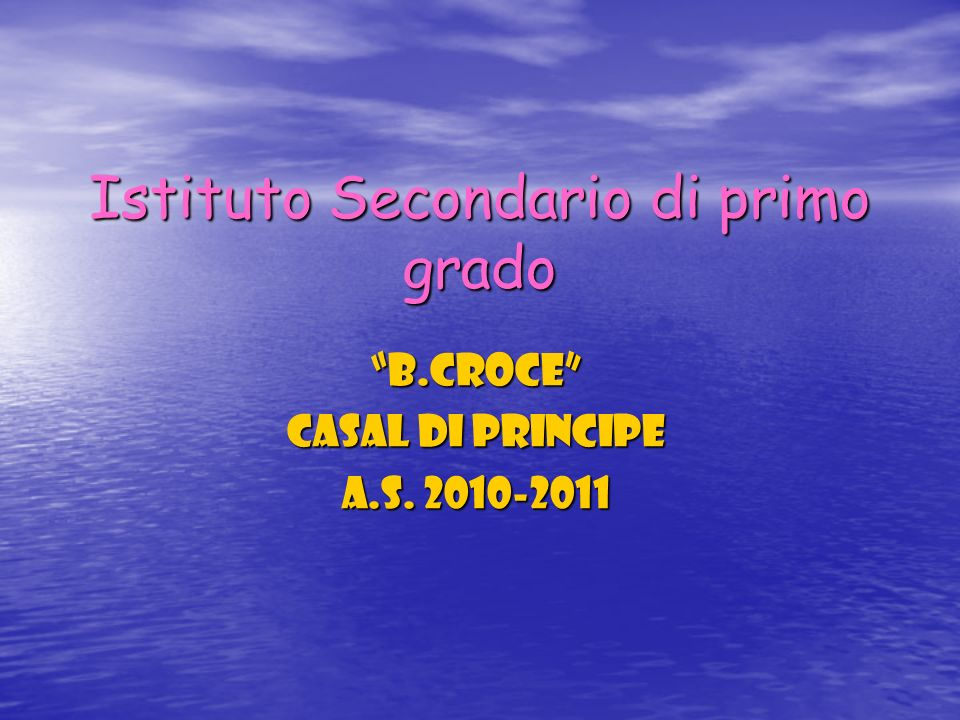 Istituto Secondario di primo grado B.Croce Casal di Principe a.s. 2010-2011