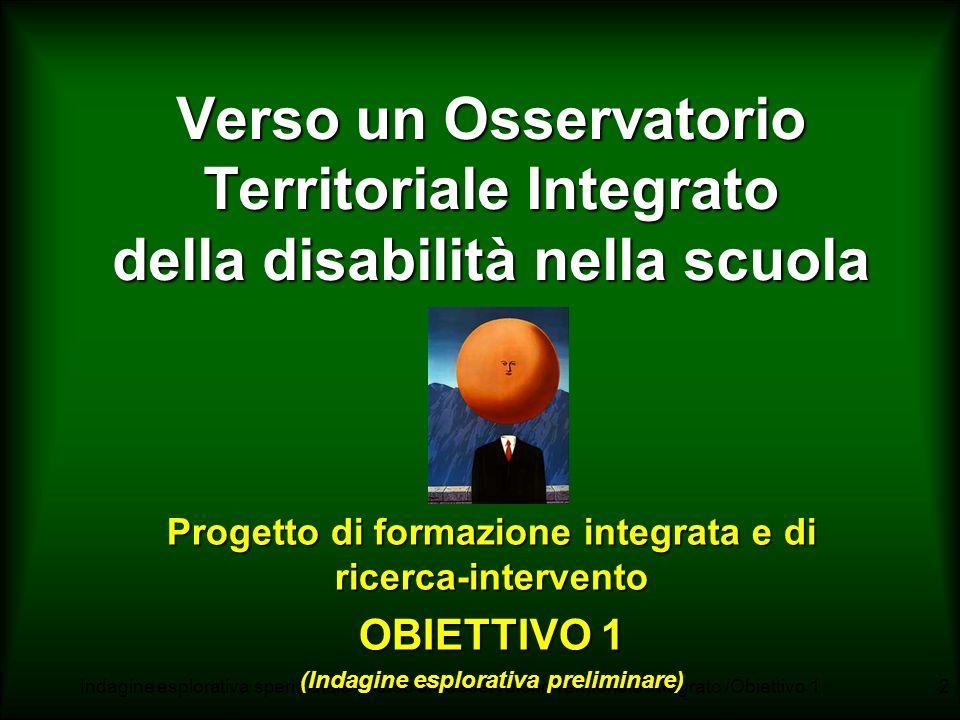 Indagine esplorativa sperimatale - Verso un Osservatorio Territoriale Integrato /Obiettivo 11