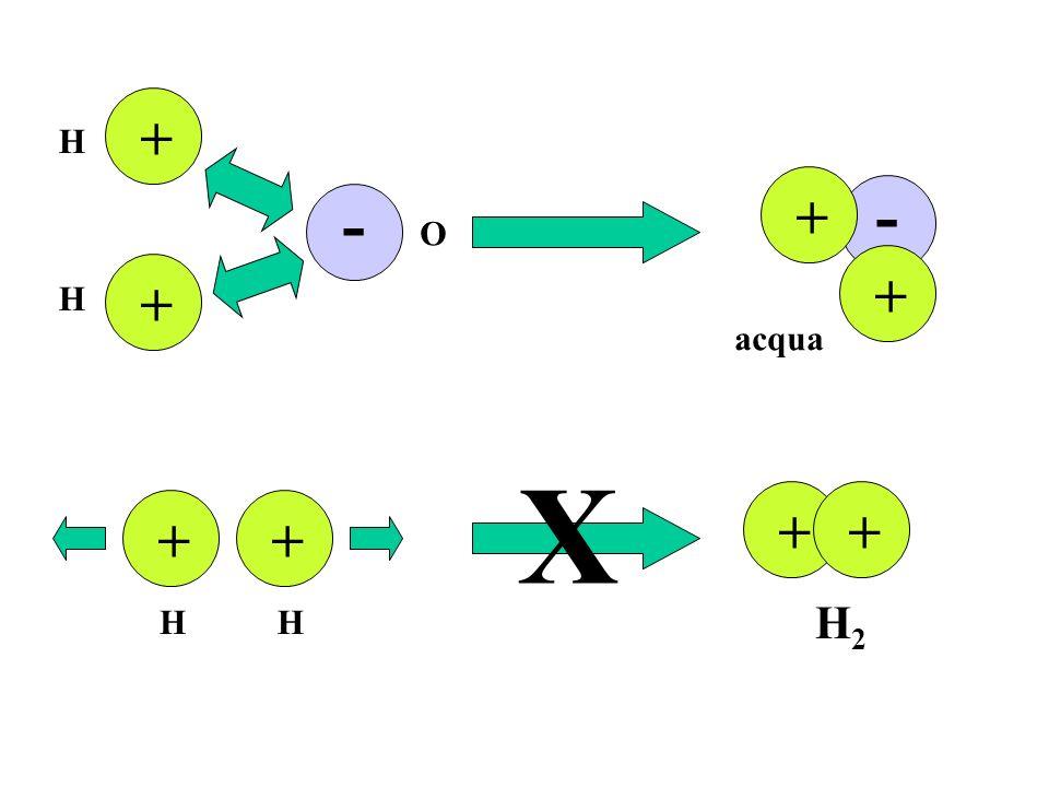 + + - - + + H H O acqua ++ ++ X HH H2H2