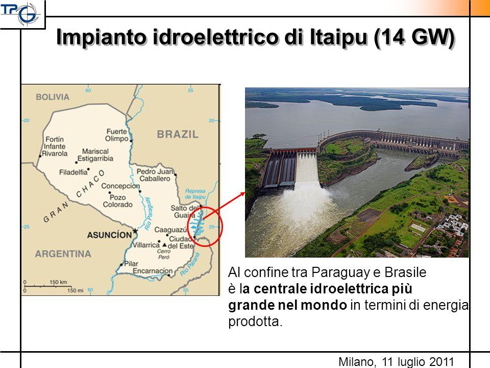Milano, 11 luglio 2011 Impianto idroelettrico di Itaipu (14 GW) Al confine tra Paraguay e Brasile è la centrale idroelettrica più grande nel mondo in