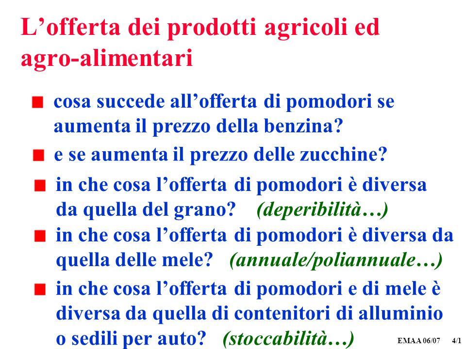 EMAA 06/07 4/1 Lofferta dei prodotti agricoli ed agro-alimentari cosa succede allofferta di pomodori se aumenta il prezzo della benzina? e se aumenta