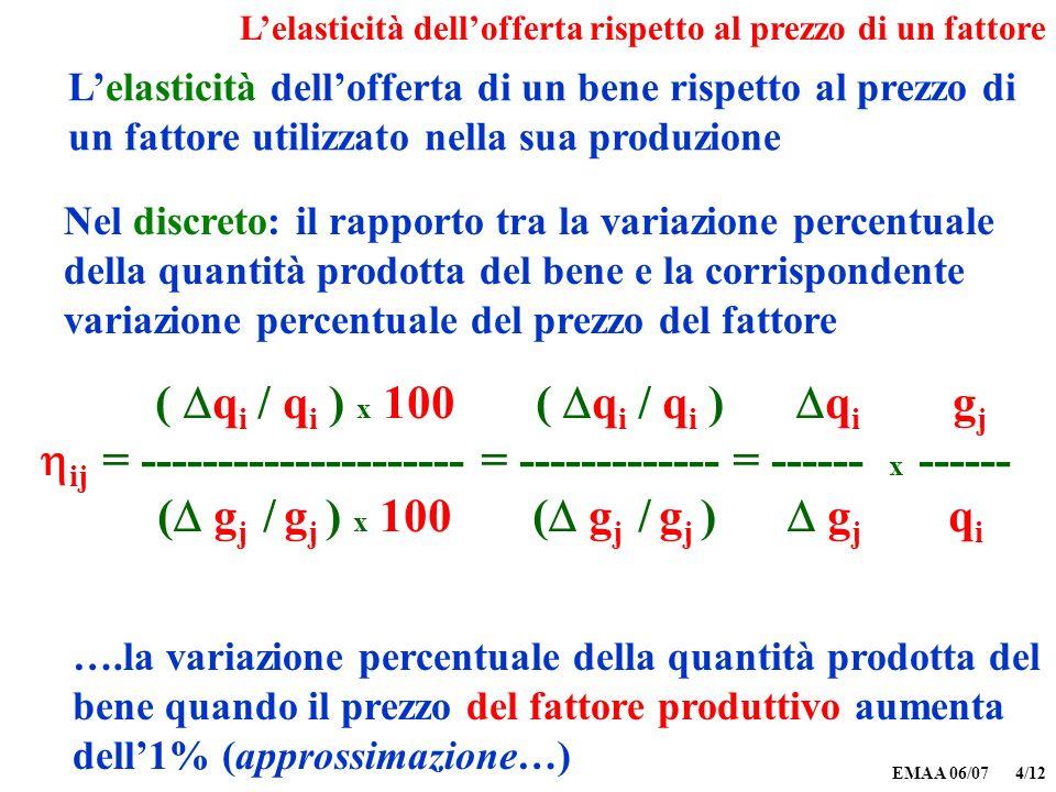EMAA 06/07 4/12 Lelasticità dellofferta di un bene rispetto al prezzo di un fattore utilizzato nella sua produzione Nel discreto: il rapporto tra la v