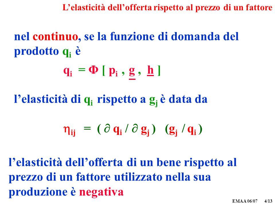 EMAA 06/07 4/13 nel continuo, se la funzione di domanda del prodotto q i è q i = Φ [ p i, g, h ] lelasticità di q i rispetto a g j è data da ij = ( q