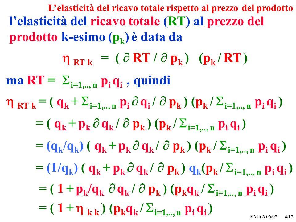 EMAA 06/07 4/17 Lelasticità del ricavo totale rispetto al prezzo del prodotto lelasticità del ricavo totale (RT) al prezzo del prodotto k-esimo (p k )