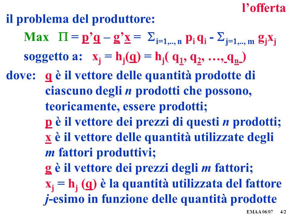EMAA 06/07 4/3 lofferta Max pq – g h(q) = i=1,.., n p i q i - j=1,.., m g j h j (q) condizioni del primo ordine: / q i = p i – j=1,.., m g j h j / (q i ) = 0, i= 1, 2,.., n cioè p i = j=1,.., m g j h j / (q i ) il problema del produttore: Max = pq – gx = i=1,.., n p i q i - j=1,.., m g j x j soggetto a: x j = h j (q) = h j ( q 1, q 2, …, q n ) sostituendo h j (q) a x j : dove: h(q) è il vettore delle quantità utilizzate degli m fattori in funzione delle quantità prodotte degli n prodotti, i= 1, 2,.., n