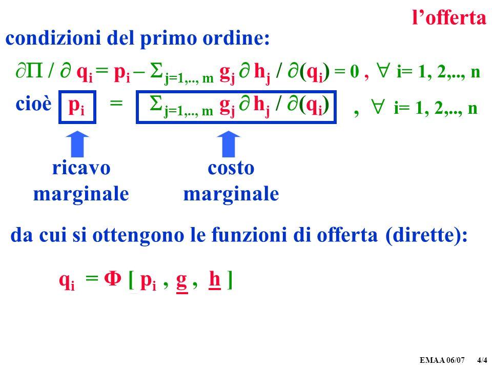 EMAA 06/07 4/5 lofferta q i = Φ [ p i, g, h ] la quantità offerta di ciascun bene dipende: (a)dal prezzo di quel bene (b)dal prezzo dei fattori di produzione, e (c)dalla tecnologia (funzione di produzione)