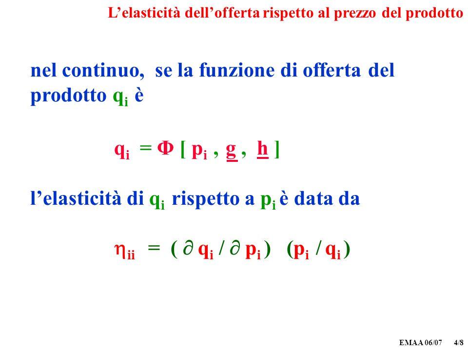 EMAA 06/07 4/8 nel continuo, se la funzione di offerta del prodotto q i è q i = Φ [ p i, g, h ] lelasticità di q i rispetto a p i è data da ii = ( q i